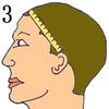 ear to ear across forehead